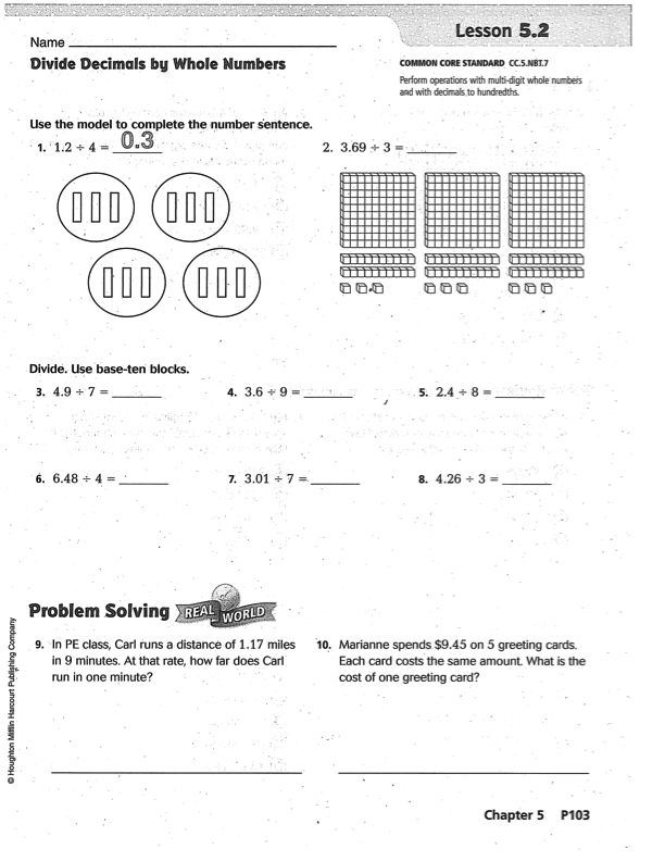 Go Math Chapter 5 - Practice Book | Mr. Monteleone\'s 5th Grade Class