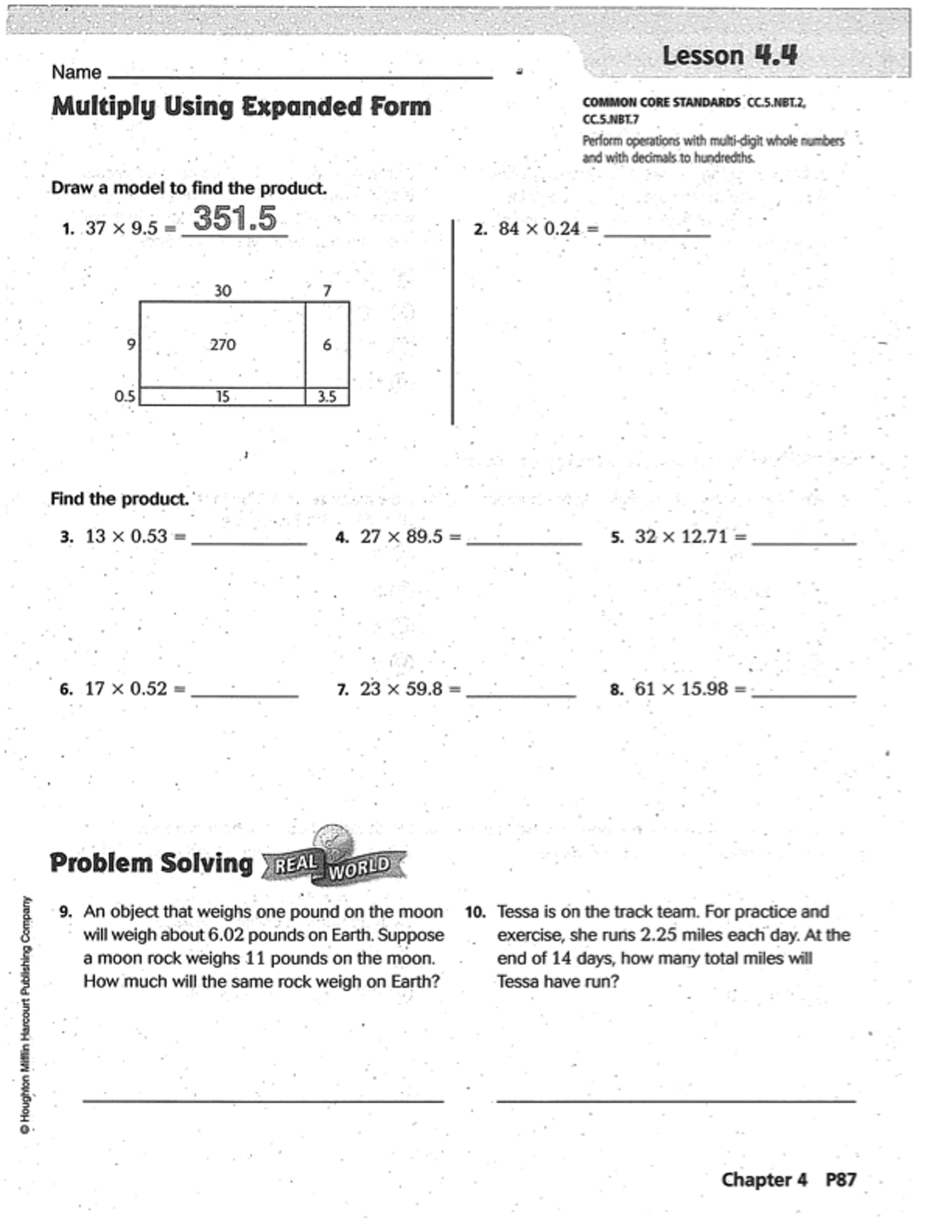 Go Math Chapter 4 Practice Book Mr Monteleone S 5th